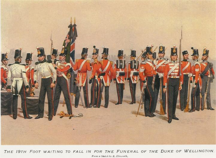 19th Foot at the Funeral of the Duke of Wellington (Illustration by R. Ebsworth)
